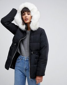Read more about Asos design puffer jacket with waist detail and faux fur hood