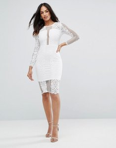 Read more about Ax paris cream long sleeve lace midi dress - cream