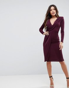 Read more about Asos slinky deep plunge shoulder pad midi bodycon dress - plum
