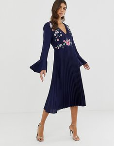 Read more about Asos design embroidered pleated midi dress with lace inserts