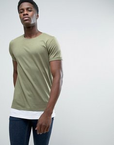 Read more about Esprit longline t-shirt with drop hem detail - 350 khaki