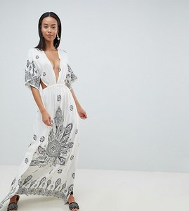 Read more about Asos design tall bandana print kimono plunge maxi beach dress - bandana print
