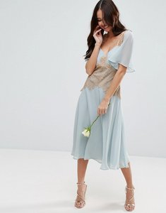 Read more about Asos wedding contrast lace panel midi dress - blue