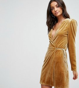 Read more about Fashion union tall wrap dress in golden velvet - gold velvet