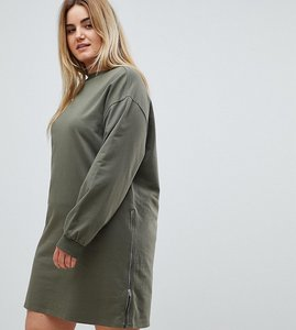 Read more about Asos curve oversized sweat dress with zip detail - khaki
