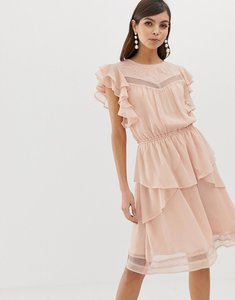 Read more about Y a s ruffle skater dress with lace - pink