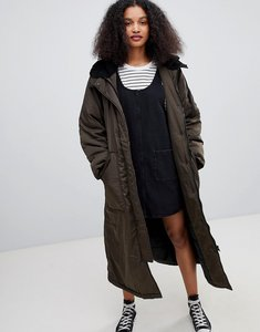 Read more about Monki longline parka - khaki