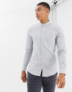 Read more about Farah brewer slim fit oxford shirt in grey - grey
