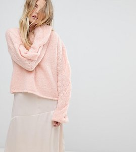 Read more about Oneon hand knitted cable sleeve jumper - light pink
