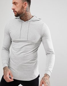Read more about Asos longline muscle hoodie with curved hem in grey marl - grey marl