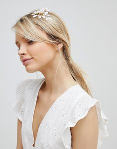 Read more about Asos design pastel leaf and pearl headband - gold