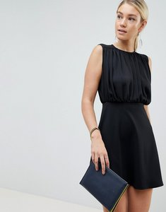 Read more about Asos design mini woven mix a-line dress - black