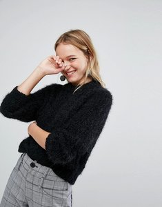 Read more about Monki fluffy knitted jumper - black