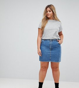 Read more about Asos design curve denim original high waisted skirt in midwash blue - mid wash blue