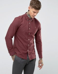 Read more about Farah brewer slim fit oxford shirt in red - farah red 626