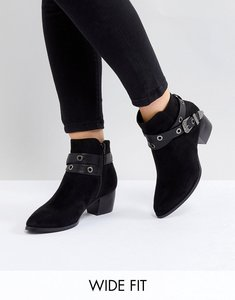 Read more about Truffle collection wide fit heeled ankle boots - black micro