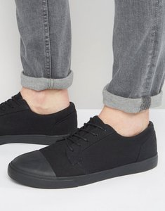 Read more about Asos lace up plimsolls in black with toe cap - black
