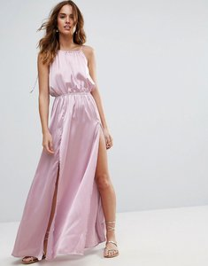 Read more about Asos split front plunge beach maxi dress in satin - lilac