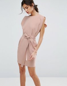Read more about Asos belted mini dress with split cap sleeve - nude