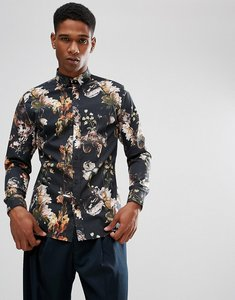 Read more about Selected homme slim fit shirt with all over print - black aop