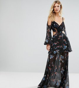 Read more about White cove tall premium cold shoulder maxi dress in all over dark floral print - multi