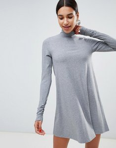 Read more about Asos design polo neck rib swing skater mini dress with ruched sleeves - grey