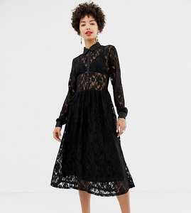Read more about Na-kd long sleeve midi dress with lace detail in black