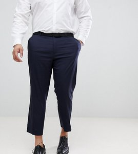 Read more about Asos plus slim cropped smart trousers in navy - navy