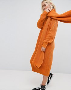 Read more about Asos white chunky knit midi dress with scarf tie detail - orange