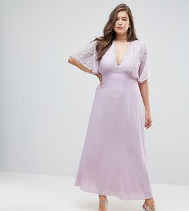 Read more about John zack plus open back maxi dress with fluted lace sleeve - lavender