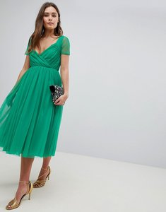 Read more about Asos tulle midi dress with sheer sleeve - green