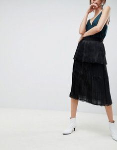 Read more about Asos pleated midi skirt in organza - black