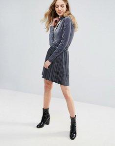 Read more about Ichi velvet pleated mini skirt - steel grey