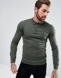 Read more about Farah maidwell slim fit merino knitted polo in green - cilantro marl 314