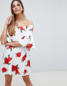 Read more about Asos design off shoulder sundress with trumpet sleeves in rose print - rose print