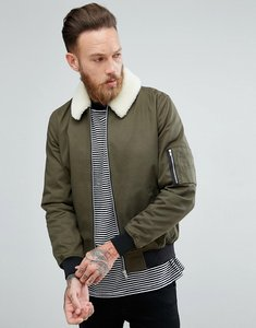 Read more about Asos bomber jacket with sleeve zip and borg collar in khaki - khaki
