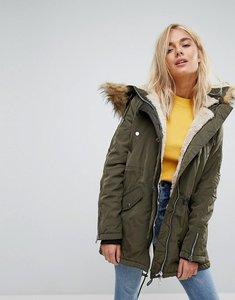 Read more about Bershka parka coat with faux fur trim - khaki