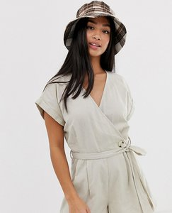 Read more about Noisy may petite linen button detail playsuit