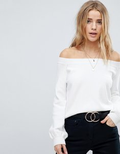 Read more about Honey punch off shoulder crop jumper - white