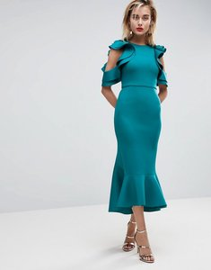Read more about Asos premium scuba extreme pephem midi dress - forest green