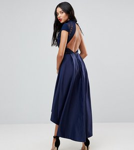 Read more about Chi chi london tall high low midi dress with open back - navy