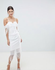 Read more about C by cubic strap bandeau sheer midi dress - white