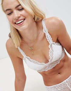 Read more about Asos design rita basic lace mix match moulded triangle bra - white