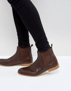 Read more about Asos chelsea boots in brown leather with natural sole - brown
