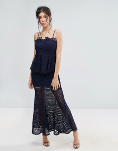 Read more about Love triangle lace peplum maxi dress - navy