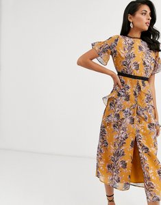 Read more about Hope ivy midi dress with ruffle detail in orange floral