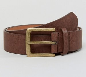 Read more about Asos wide belt in brown faux leather with vintage gold buckle - brown