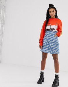 Read more about House of holland logo printed denim mini skirt - blue