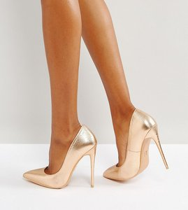 Read more about Lost ink wide fit rose gold metallic high court shoes - rose gold