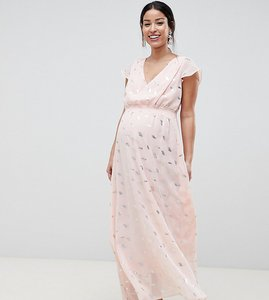 Read more about Mamalicious wrap maxi dress with metallic print - multi